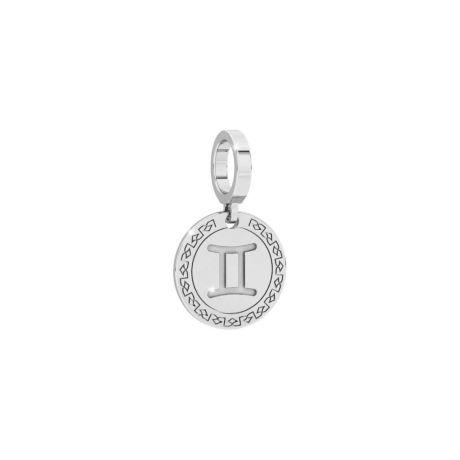Charm Rebecca donna della collezione My World, in argento 925/1000 con segno zodiacale gemelli inciso.