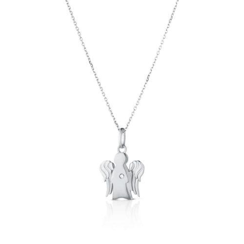 Collana Giannotti donna NKT263B.Collana della collezione Angeli in oro bianco 9kt con pendente angelo in oro bianco e diamante Ct 0,0065. Lunghezza catena 40/45 cm. Dimensioni angelo: base 1,3 cm e altezza 1,5 cm.