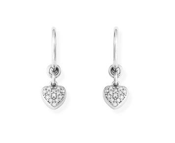 Orecchini Amen donna OCBZ. Orecchini della collezione romance in argento 925 a forma di cuore con zirconi. Lunghezza 2 cm
