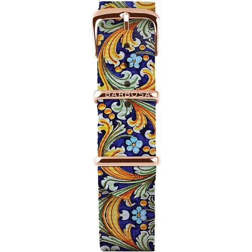 Cinturino Per Orologio Donna Barbosa 18RN164 della collezione Sicily Melograno realizzato in acciaio Rosè pvd. Il cinturino è realizzato in nylon e la stampa a Fantasia .La larghezza del cinturino è di 18 mm. resistente all' acqua .
