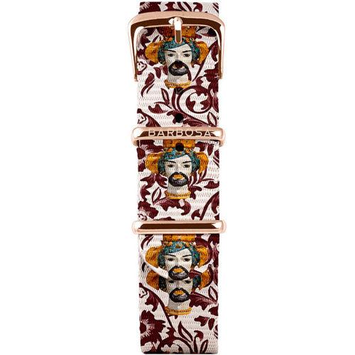 Cinturino Per Orologio Donna Barbosa 18RN199 della collezione Basic . Realizzato in acciaio Rosè pvd. Il cinturino è realizzato in nylon e la stampa a Fantasia Con Teste Di Moro .La larghezza del cinturino è di 18 mm. resistente all' acqua .