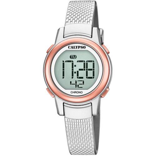 Orologio Calypso Digitale Donna K5736/2della collezione Digital Crush . Questo modello è realizzato con cassa in rosè, in plastica di dimensione 29 mm . Display digitale e cinturino in gomma . La resistenza all' acqua di questo orologio è di 10 atm.