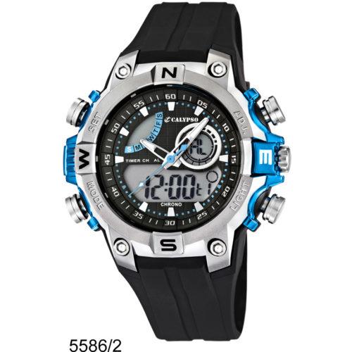 Orologio Calypso Digitale UomoK5586/2 della collezione Anadigital. Questo modello è realizzato con cassa in plastica di dimensione 43,5 , con indici dipinti .Il cinturino è in gomma .Inoltre la resistenza all' acqua di questo orologio è di 10 atm.