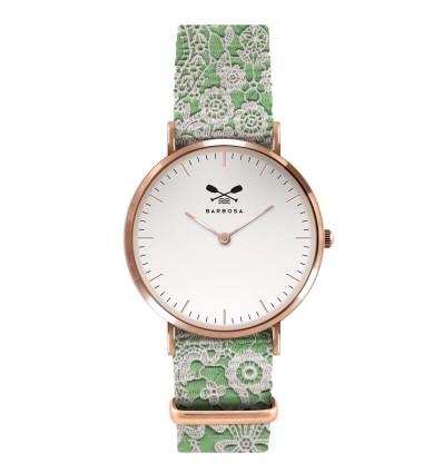 Orologio Solo Tempo Da Donna Di Barbosa 01RSBI-18RN247 della Linea Basic.Modello con cassa rosè pvd e quadrante bianco. Il quadrante di 36,5 mm di colore bianco e il cinturino verde di 18 mm con ricamo .La fibia è di colore rosè pvd.
