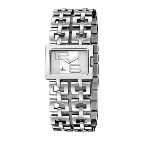 L'orologio da donna Festina F16300/1 è realizzato interamente in acciaio, movimento al quarzo ed è di colore argentato. La cassa misura 3 x 2 cm . L'orologio è impermeabile fino a 5 atm, quindi può tollerare piccole immersioni, ma non la pressione dell'acqua (come nella doccia o durante un tuffo).