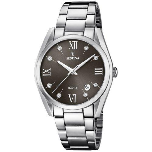 Orologio Festina Donna Solo Tempo F16790/Fdella collezione BoyFriend. Questo orologio realizzato in acciaio inossidabile .Il quadrante è Grigio con pietre. Il diametro della cassa è di 36,5 mm. Il movimento M2115 e la sua resistenza è di 5 Atm.