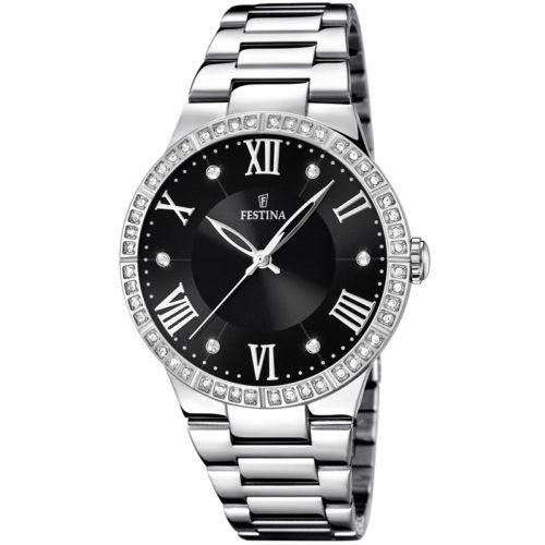 Orologio Festina Donna Solo Tempo F16719/2 della collezione Mademoiselle. Questo orologio realizzato interamente in Acciaio inossidabile . Il quadrante è nero con pietre per indicare le ore e il suo diametro è di 36 mm. La resistenza all'acqua è di 5 5Atm.