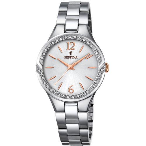 Orologio Festina Donna Solo Tempo F20246/1della collezione Mademoiselle. Questo orologio è realizzato in acciaio inossidabile. Il quadrante è bianco rotondo di diametro 28 mm con indici numeri arabi applicati. Inoltre il suo movimento di tipo Mgl30 e la sua resistenza di 5 Atm.