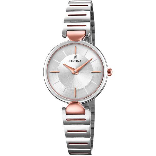 Orologio Festina Donna Solo Tempo F20320/2 della collezione Mademoiselle. Questo orologio realizzato interamente in acciaio inossidabile Argentato. Cassa di diametro 26 mm e quadrante bianco con indici rosè applicati . Il cinturino argentato e inserti rosè. La resistenza di questo modello è di 5 Atm e inoltre il suo movimento è di tipo Mgl20.