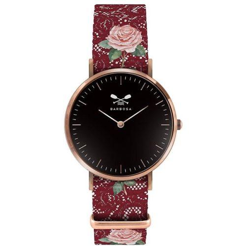 Orologio solo tempo Donna Barbosa 01RSNI-18RN231. Modello con cassa in acciaio Rosè e diametro 36,5 mm. Quadrante colore nero e cinturino in nylon a fantasia largo 18 mm. Fibia colore Rosè.