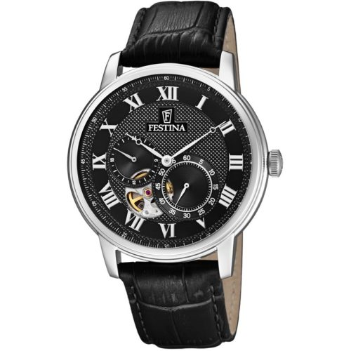 Orologio Festina Uomo Solo Tempo Automatico F6858/3 della collezione Automatico. Questo orologio ha la cassa in acciaio inossidabile argentato con quadrante rotondo e nero. La cassa ha una dimensione 42 mm e inoltre sono presenti indici in numeri romani applicati. Il cinturino è in pelle nero. La esistenza di questo orologio è di 5 atm.