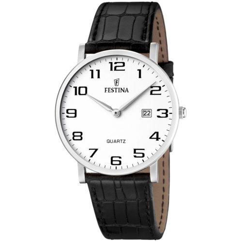 Orologio Festina Uomo Solo Tempo Correa Classico F16476/1 della collezione Correa Classico. Questo orologio presenta la cassa in acciaio di diametro 40mm con quadrante bianco e numeri applicati. Il cinturino è in pelle nero. La resistenza di questo orologio è di 3 Atm.