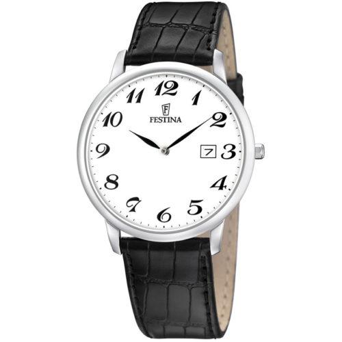 Orologio Festina Uomo Solo Tempo Correa Classico F6806/5della collezione Correa Classico. Questo orologio presenta la cassa in acciaio di diametro 40mm con quadrante bianco e numeri applicati. Il cinturino è in pelle nero. La resistenza di questo orologio è di 3 Atm.