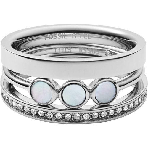 Anello Fossil donnaJF03144040510 della collezione Classic . Anello realizzato in acciaio inossidabile di colore silver con zirconi e madreperla.