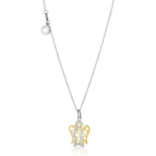 Collana Giannotti donna NKT258. Collana della collezione Angeli in oro bianco 9kt con pendente angelo in oro giallo e bianco. Lunghezza catena 40/45cm - angelo: base 1,1 cm - altezza 1,2 cm.