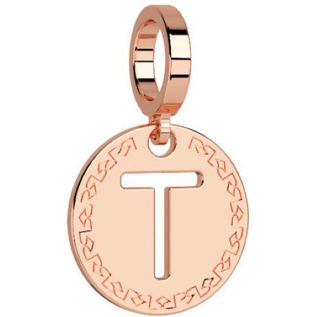 Charm Rebecca My world donna in bronzo rodiato di colore rosè con lettera T