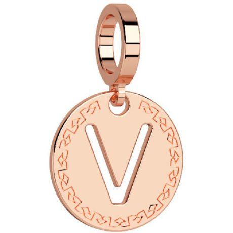 Charm Rebecca My world donna in bronzo rodiato di colore rosè con lettera V