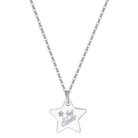 Collana BE MY ALWAYS SBM30. Collana in acciaio 316L con ciondolo a forma di stella e cristallo bianco.