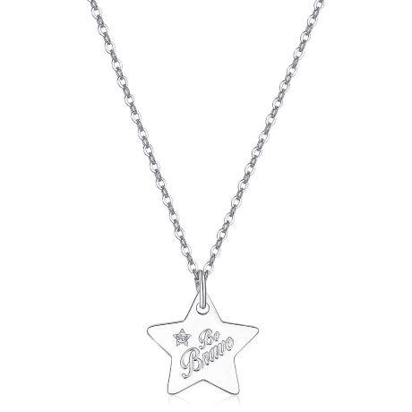 Collana BE MY ALWAYS SBM32. Collana in acciaio 316L con ciondolo a forma di stella e cristallo bianco con scriito BE BRAVE