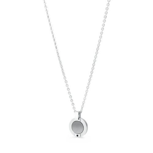 Collana GREY SGR01. Collana da uomo in acciaio con ciondolo in pietra nera e cristalli silvernig