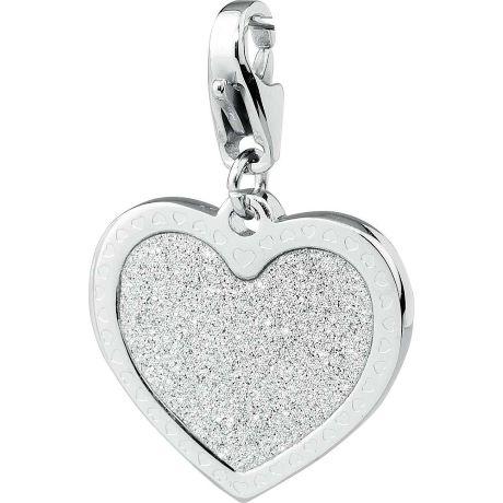 Charm S'agapò donna della collezione Happy sha18 charm in acciaio con cuore colore silver e glitter