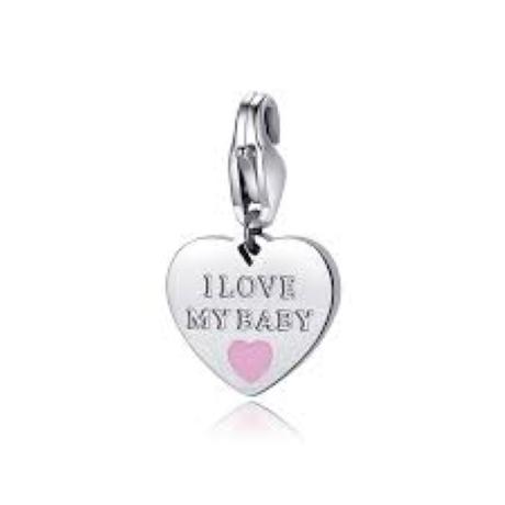 Charm S'agapò donna della collezione Happy sha334 charm a forma di cuore in acciaio, colore silver con scritta i love my baby rosa