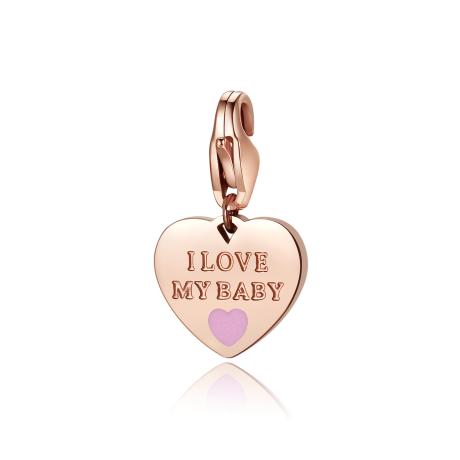 Charm S'agapò donna della collezione Happy sha335 charm a forma di cuore in acciaio, colore oro con scritta i love my baby rosa