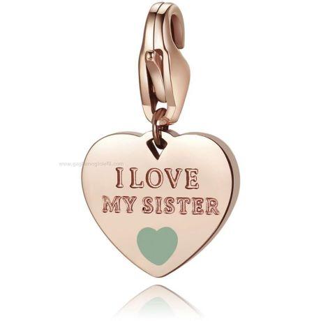 """Charm S'agapò donna della collezione Happy sha337. charm a forma di cuore in acciaio, colore oro rosa con scritta incisa """"i love my sister"""""""