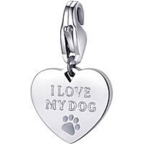 Charm S'agapò donna della collezione Happy sha338 charm a forma di cuore in acciaio, colore silver con scritta i love my dog
