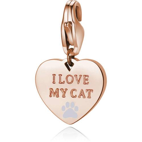 Charm S'agapò donna della collezione Happy sha341 charm a forma di cuore in acciaio, colore oro rosa con scritta i love my cat