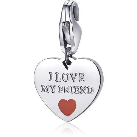 """Charm S'agapò donna della collezione Happy sha342. charm a forma di cuore in acciaio, colore silver con scritta incisa """"i love my friend"""""""