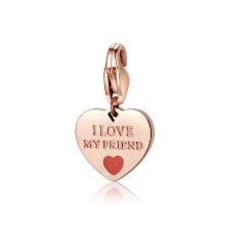 """Charm S'agapò donna della collezione Happy sha343. charm a forma di cuore in acciaio, colore oro rosa con scritta incisa """"i love my friend"""""""
