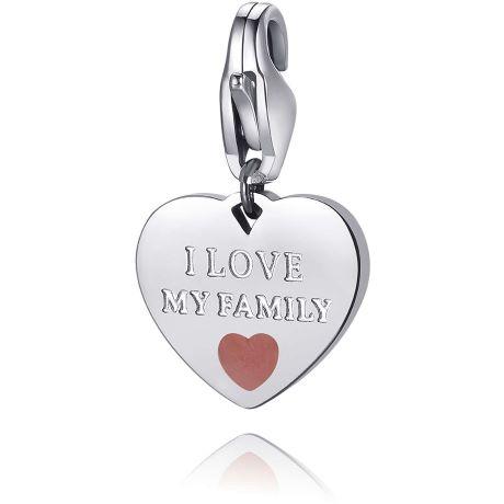 """Charm S'agapò donna della collezione Happy sha344. charm a forma di cuore in acciaio, colore silver con scritta incisa """"i love my family"""""""