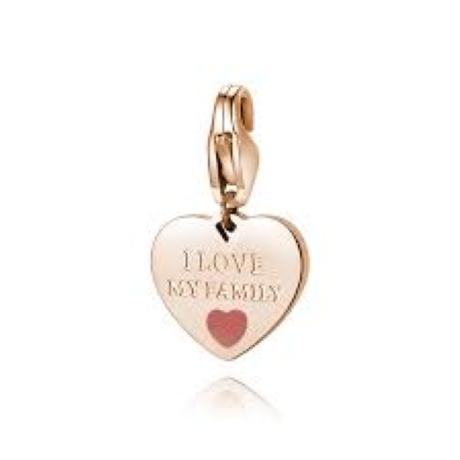 """Charm S'agapò donna della collezione Happy sha345. charm a forma di cuore in acciaio, colore oro rosa con scritta incisa """"i love my family"""""""