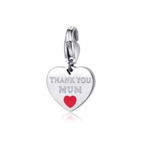 """Charm S'agapò donna della collezione Happy sha346 charm a forma di cuore in acciaio, colore silver con scritta incisa """"thank you mum"""""""
