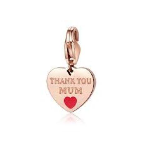"""Charm S'agapò donna della collezione Happy sha346 charm a forma di cuore in acciaio, colore oro rosa con scritta incisa """"thank you mum"""""""