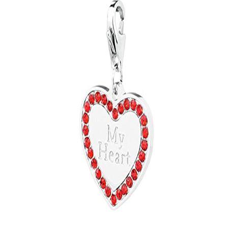 Charm S'agapò donna della collezione Happy sha60 charm in acciaio con cuore colore silver e cristalli rossi