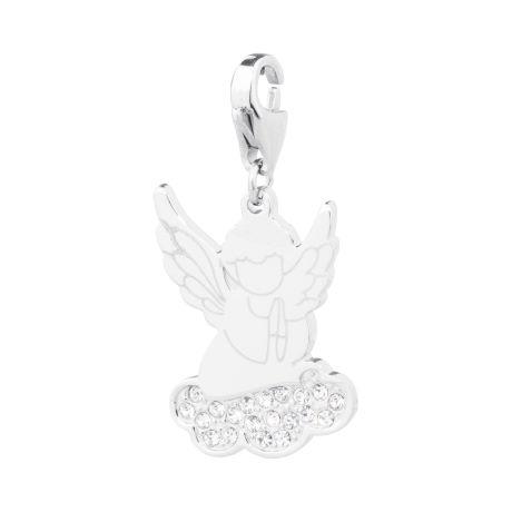 Charm S'agapò donna della collezione Happy sha62 charm in acciaio con angelo colore silver e cristalli