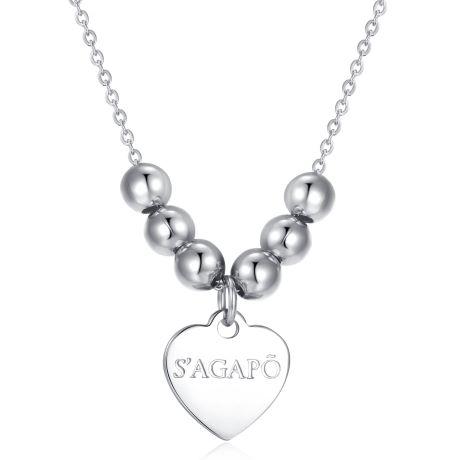 Collana donna gioielli Sagapò HAPPY SHAC13. Collana Happy In Acciaio Con Sfere. Lunghezza: 47 Cm