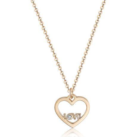 Collana S'agapò donna collezione PRETTY SPE04. Collana in acciaio 316L e pvd oro rosa con pendente a forma di cuore con scritta LOVE e cristallo.