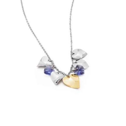 Collana donna S'agapò collezione DROPS SPS03. Collana in Acciaio, pvd oro e cristalli tanzanite Swarovski® Elements.