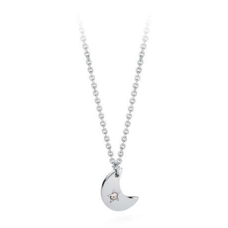 Collana donna gioielli Sagapò Estrella SRE01. Collana Estrella In Acciaio Con Ciondolo A Forma Di Luna e Cristallo