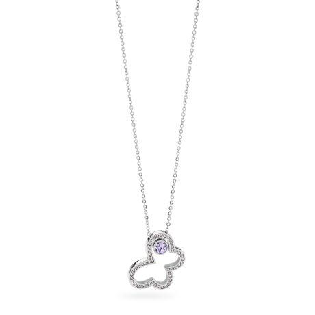 Collana in acciaio 316L, con ciondolo farfalla in cristallo violet e cristall
