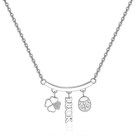 Collana donna gioielli Sagapò Tricony STY04. Gioiello In Acciaio Con Quadrifoglio, Coccinella e Lucky