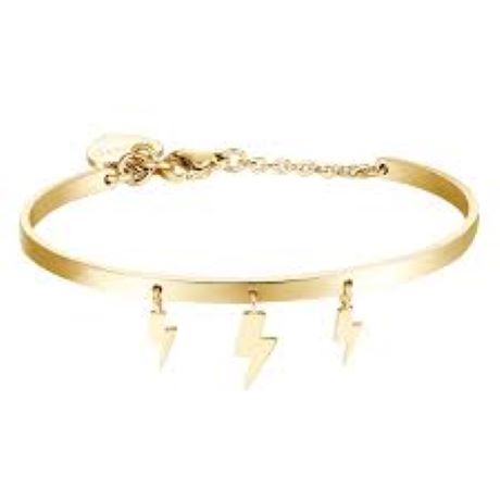 Bracciale donna gioielli S'agapò Tricony STY11. Bracciale Rigido In Acciaio colore oro con pendenti a forma di saetta
