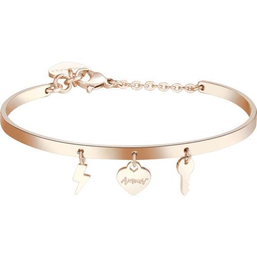 Bracciale donna gioielli S'agapò Tricony STY13. Bracciale Rigido In Acciaio colore oro rosa con pendenti a forma di saetta, cuore e chiave