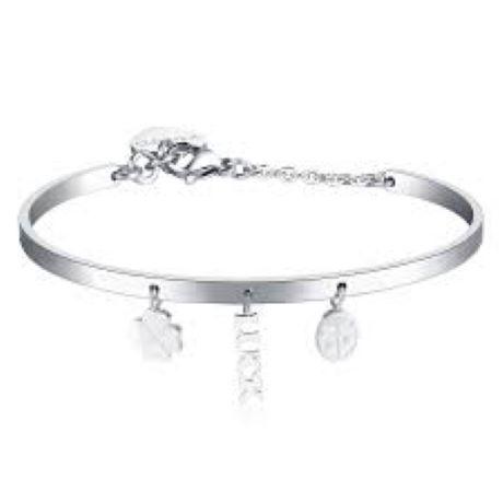 Bracciale donna gioielli S'agapò Tricony STY14. Bracciale Rigido In Acciaio colore silver con pendenti a forma di quadrifoglio, luck e coccinella