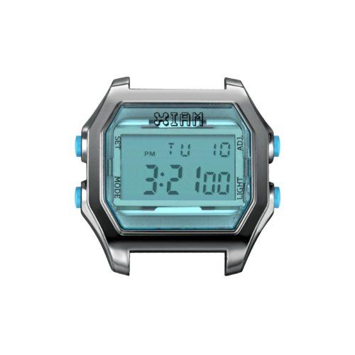 Orologio Digitale Iam IAM-102. Orologio con cassa large in policarbonato effetto trasparente di colore grigio con display e pulsanti laterali di colore celeste.