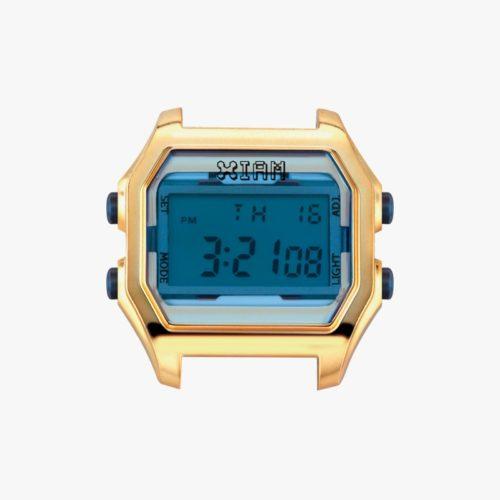 Orologio Digitale Iam IAM-120.Orologio con cassa large in policarbonato di colore oro con pulsanti laterali blu.