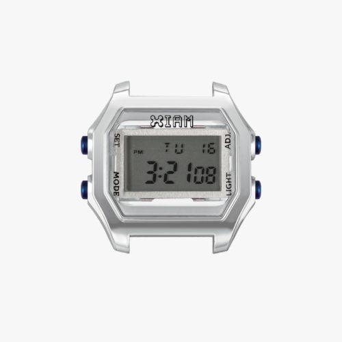 Orologio Digitale Iam IAM-021. Orologio con cassa medium in policarbonato di colore grigio con pulsanti blu.